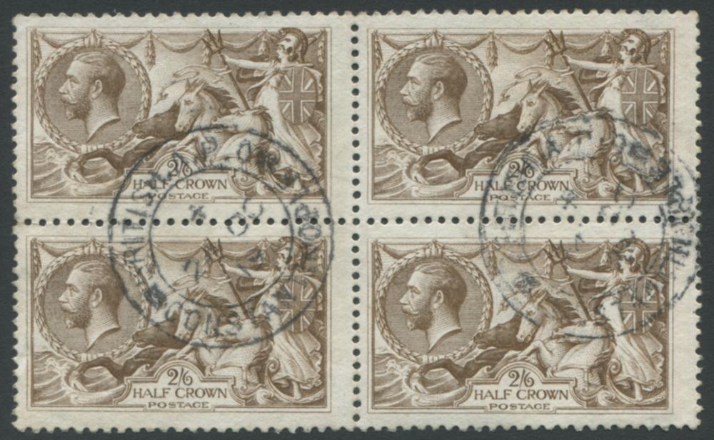 1918 Bradbury 2/6d brown - VFU block of four