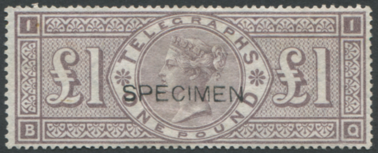 1877 Telegraph £1 brown lilac optd SPECIMEN Type 8