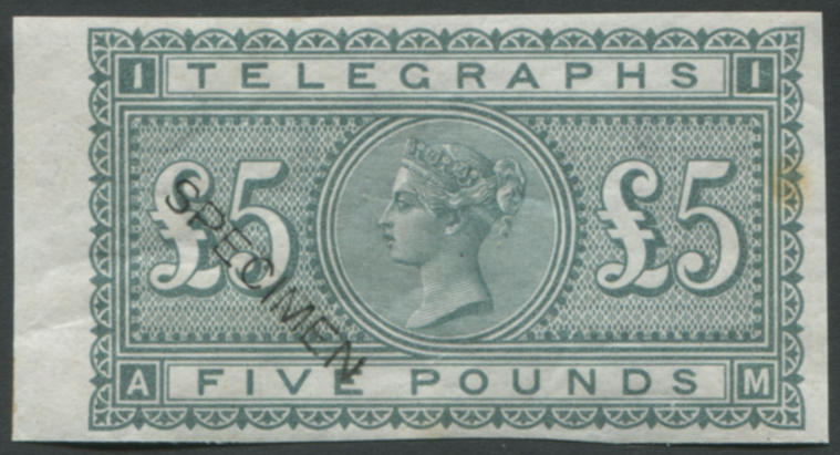 1877 Telegraph Colour Trial Imperf wmk Shamrock £5 in grey-green