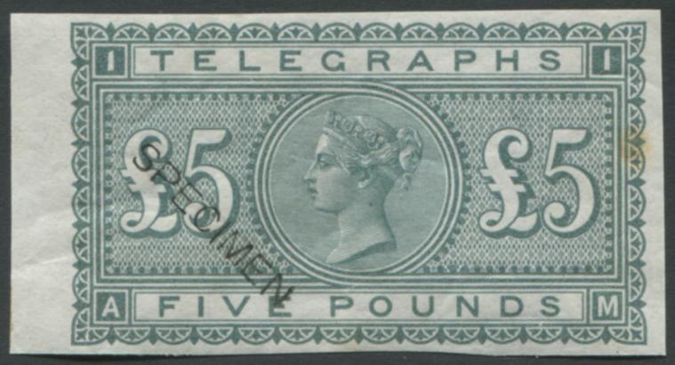 1877 Telegraph Colour Trial Imperf wmk Shamrock £5 in grey-green