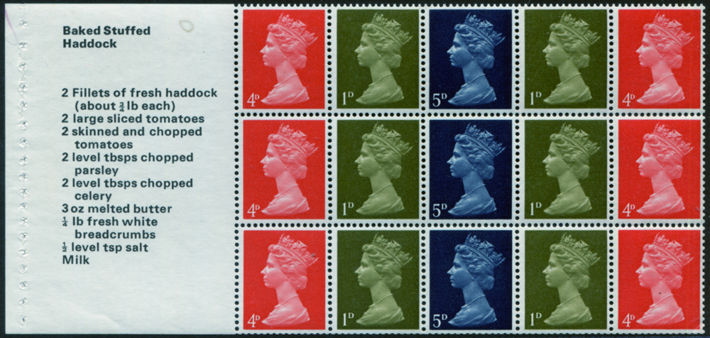 1969 'Baked Stuffed Haddock' se-tenant stiched pane (ex Stamps for Cooks booklet) with phosphor omitted