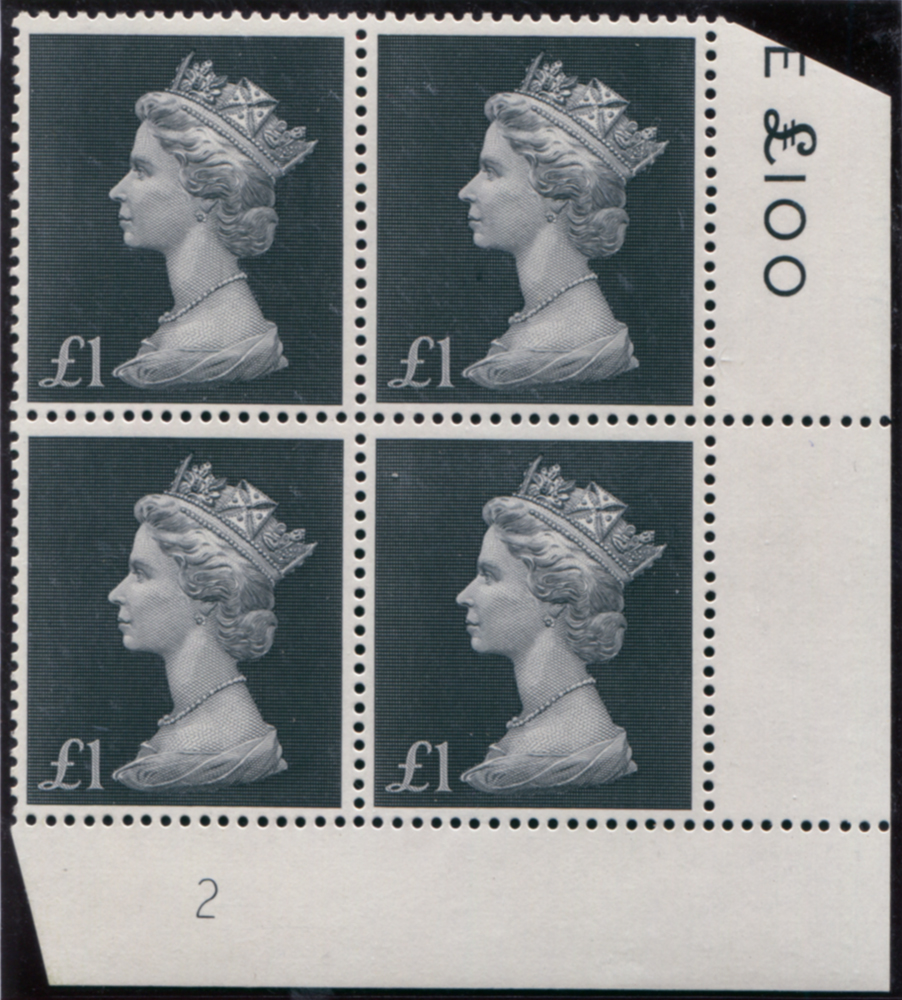 1970 £1 bluish-black Plate 2 with the original '£' sign but printed in the 10 x 10 format