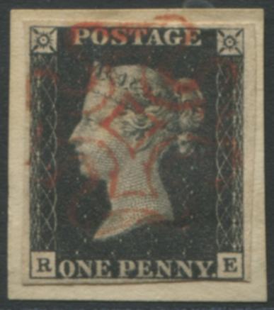 1840 1d black - Plate 6 RE