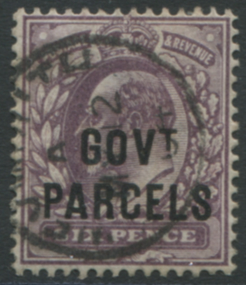 GOVT PARCELS 1902 6d pale dull purple