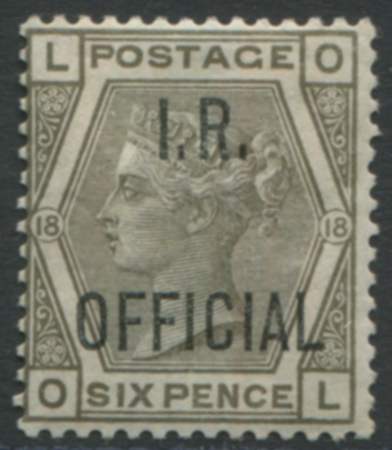 I.R OFFICIAL 1882 6d grey Pl.18
