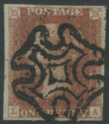 1841 RED FROM BLACK PLATES - Plate 9 LA