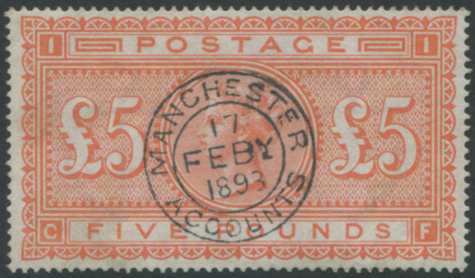 1867-83 £5 orange (CF) superb used with central upright Manchester date stamp