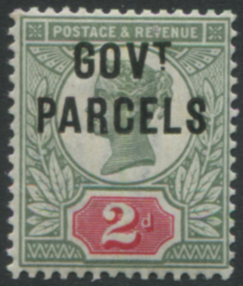GOVT PARCELS 1891 2d grey-green & carmine