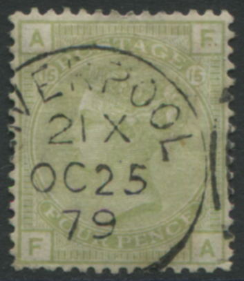 1877 4d sage green Pl.15, VFU with Liverpool c.d.s.