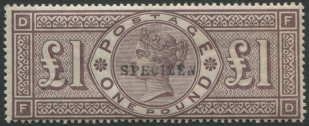 1884 Wmk Crowns £1 brown lilac optd SPECIMEN Type 9