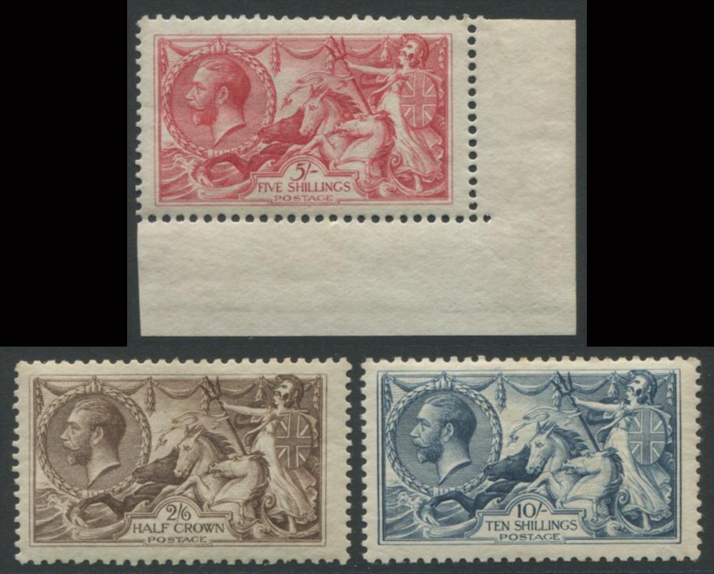 1918 Bradbury 2/6d, 5s (corner marginal) & 10s set