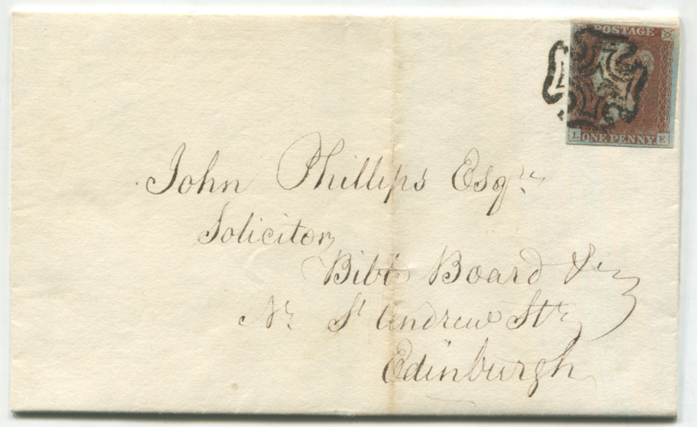 1841 Dec cover from Glasgow to Edinburgh, franked Plate 10 LE