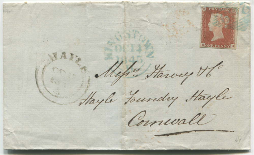 1845 Oct 14th cover from Kingstown, Ireland to Hayle Foundry, Cornwall, franked 1841 1d red-brown