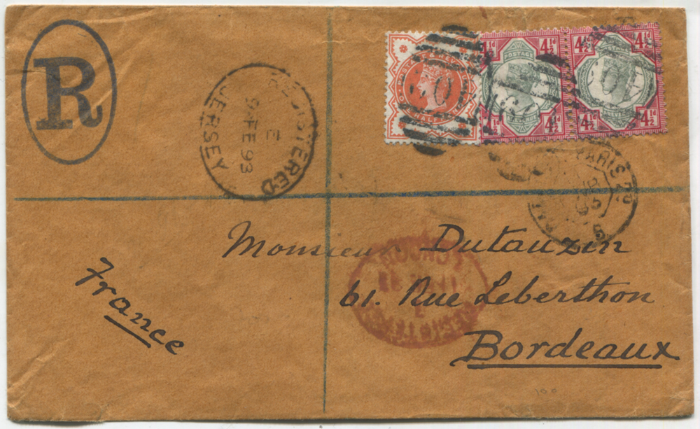 1893 registered cover from Jersey to Bordeaux, franked Jubilee ½d & 4½d (pair)