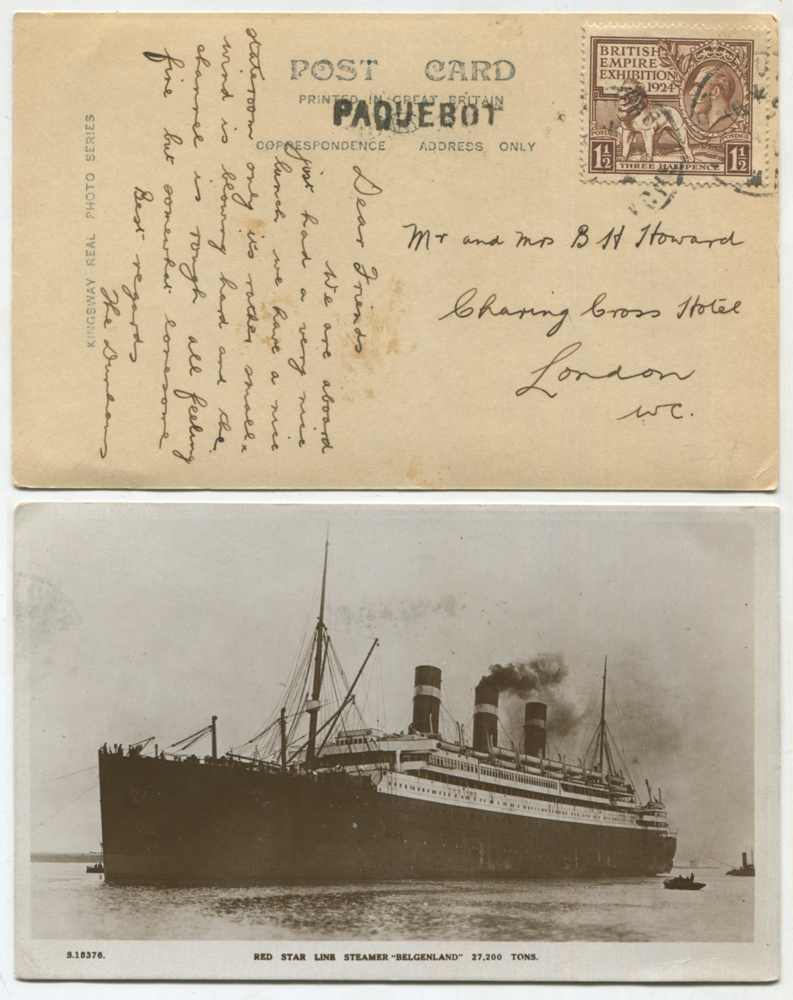 1924 Wembley 1½d on a PPC of the Red Star Line Steamer 'Belgenland'