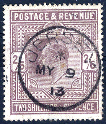 1913 2/6d dull reddish purple with JERSEY c.d.s.