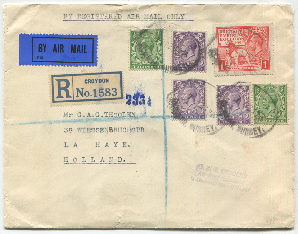 1928 registered airmail cover from Beckenham to La Haye, Holland, franked ½d (2), 3d (3) & Wembley 1d