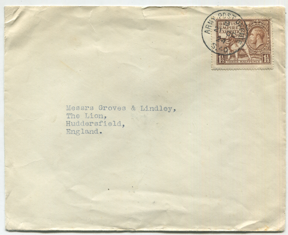 1924 Wembley Exhibition 'Military Mail' Wembley 1½d tied to cover by Army Post Office S40 c.d.s