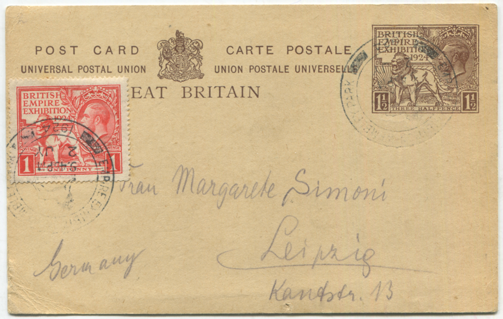 1924 Wembley Exhibition 1½d postcard uprated with Wembley 1d