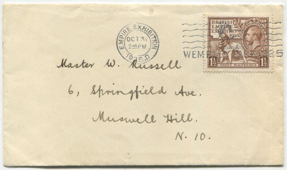 1925 Wembley Exhibition 1½d on an envelope, tied 'WEMBLEY PARK' slogan