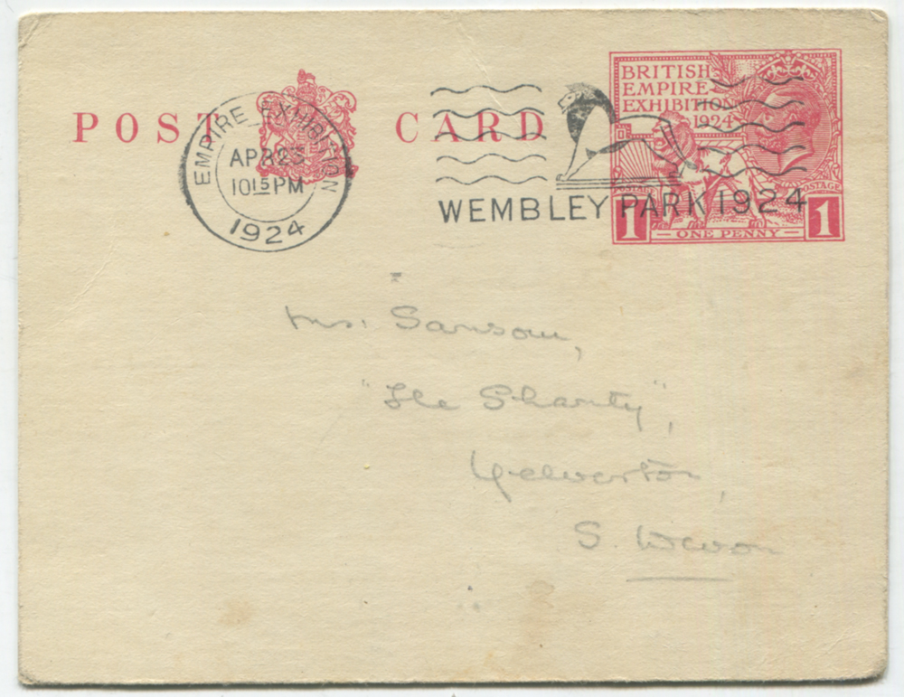 1924 Wembley Exhibition One Penny postcard cancelled by 'WEMBLEY PARK' slogan