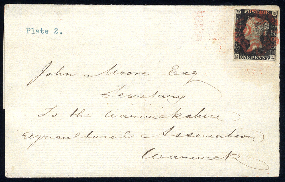 1840 Sept wrapper from Rugby to Warwick, franked Plate 2 EL