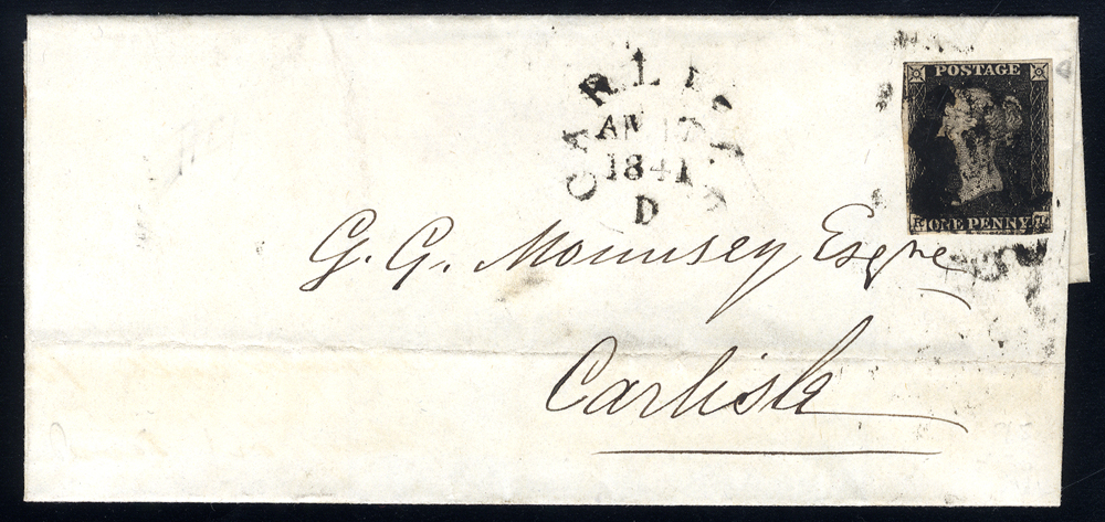 1841 Aug cover sent locally in Carlisle, franked Plate 5 RI