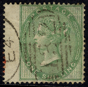 1856 1s green, wing margin example cancelled by a fine '132' sideways duplex