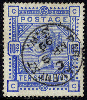 1883 10s ultramarine, VFU example with superb 'Parliament Street MR.8.99' c.d.s