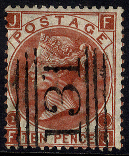 1867 10d red-brown, VFU example with '131' Edinburgh numeral