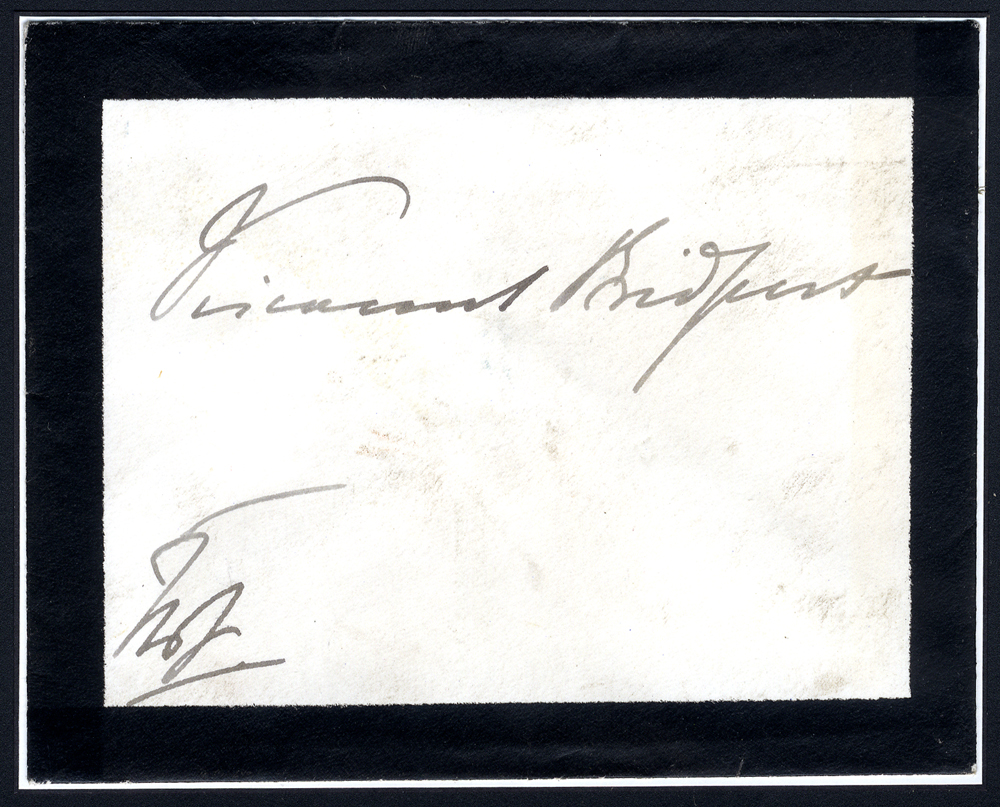 QUEEN VICTORIA mourning envelope to Viscount Bridport signed at lower left 'The Q'