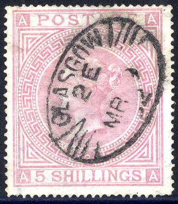 1867 Wmk Maltese Cross 5s rose AA, Plate 2, Glasgow oval d/stamp