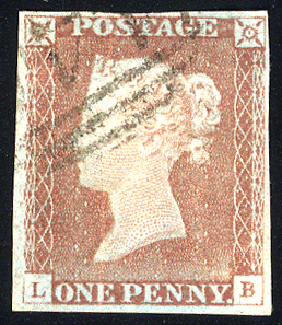 1841 1d red-brown - Plate 68 LB (worn plate)
