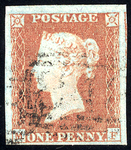 1841 1d red-brown - Plate 102 MF