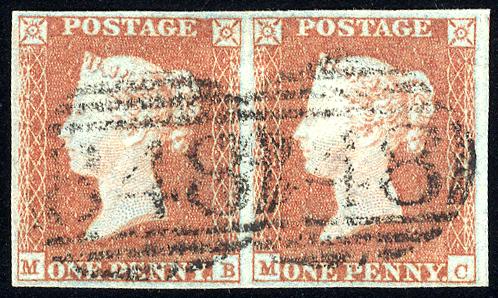 1841 1d red-brown - Plate 96 MB-MC horizontal pair