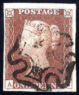 1841 1d red-brown - Plate 12 AL
