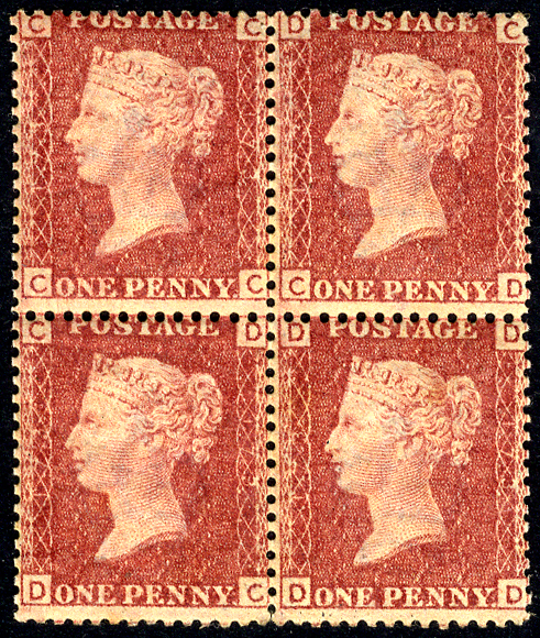 1864 1d rose-red - Plate 173, fine MINT block of four