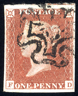 1841 1d red-brown - Plate 12 FD