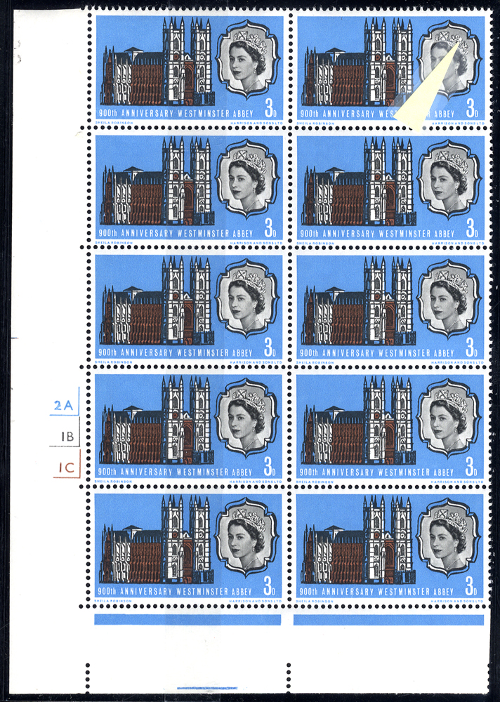 1966 900th Anniv Westminster Abbey UM Cylinder block of ten incl. variety Diadem flaw