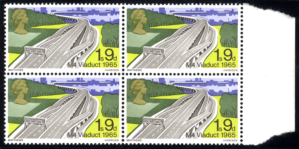 1968 Bridges 1/9d UM marginal block of four with missing phosphor
