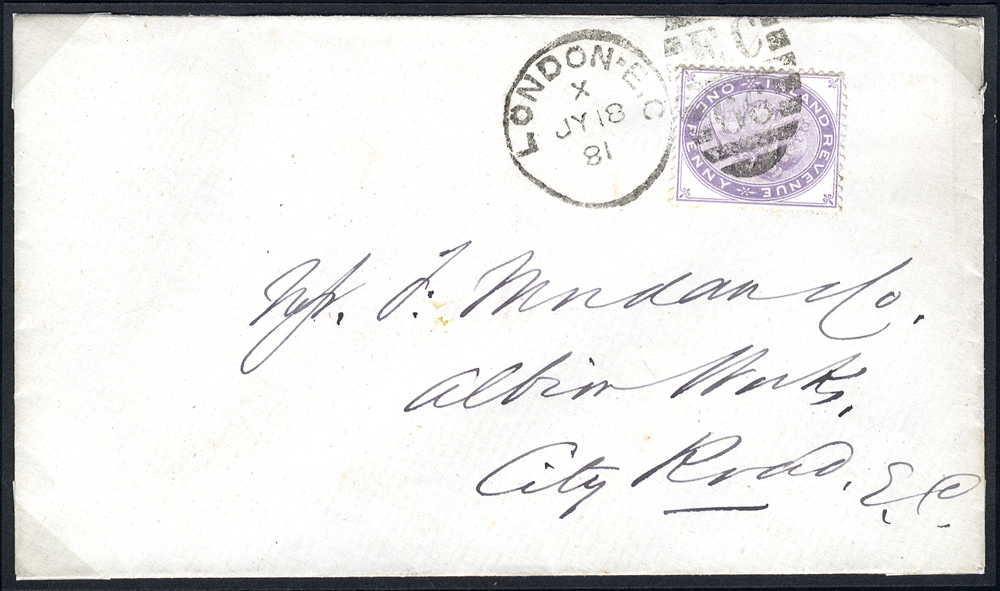 1881 envelope used locally in London, franked 1d purple postal fiscal