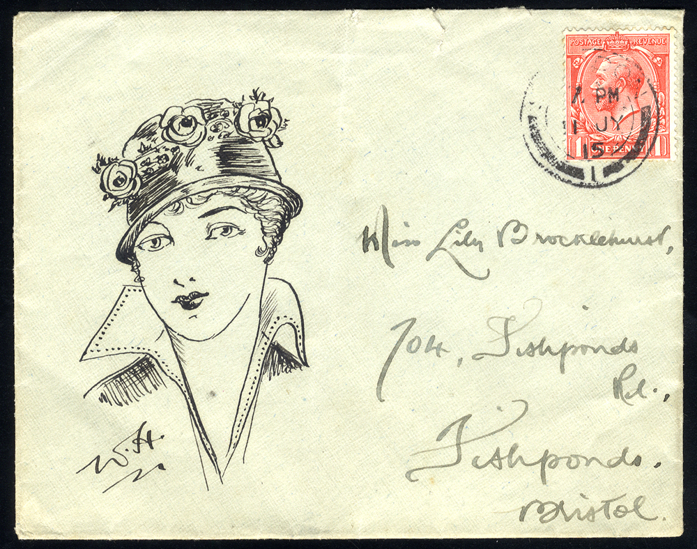 1915 envelope franked 1d KGV defin, tied London c.d.s