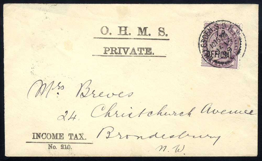 1899 O.H.M.S envelope franked I.R OFFICIAL 1d lilac