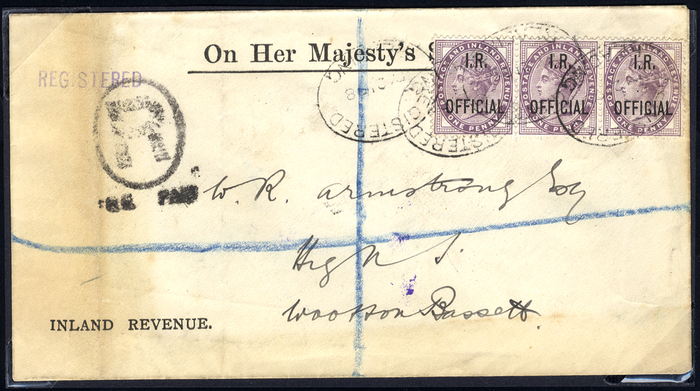 1898 O.H.M.S Inland Revenue envelope from Reading to Wootton Bassett, franked I.R OFFICIAL 1d lilac strip of three