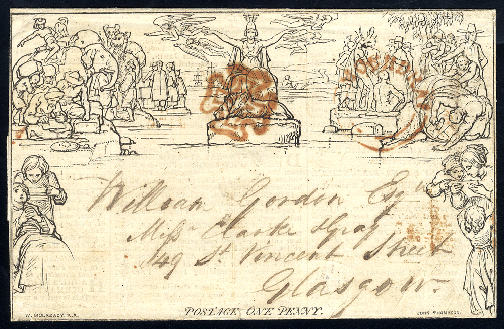 1840 One Penny Letter Sheet 'A50' cancelled by a red Maltese Cross to Glasgow