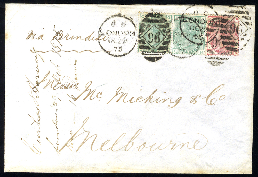 1875 envelope to Melbourne, Australia, franked 3d rose Plate 18