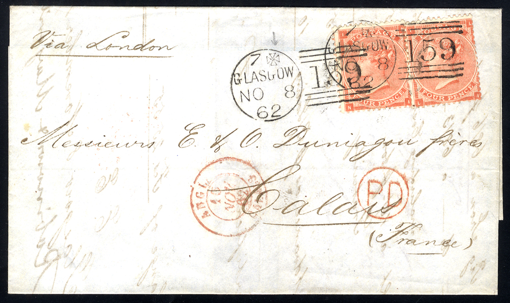 1862 cover to Calais, franked 4d bright red (2), fine Glasgow '159' duplexes