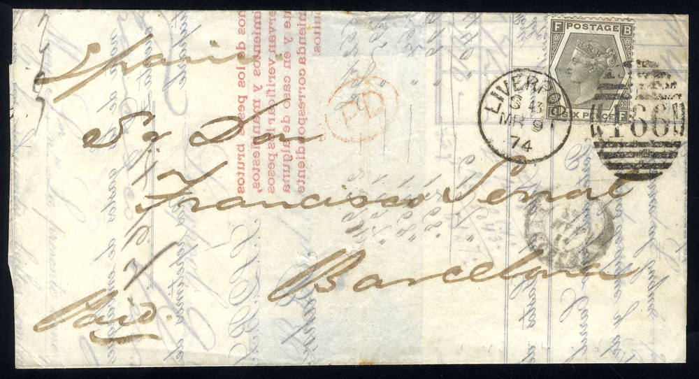 1874 cover to Barcelona, Spain, franked 6d grey Plate 12