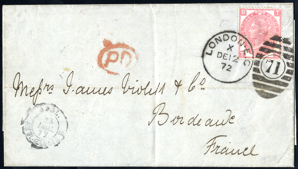 1872 cover to Bordeaux, France, franked 3d rose Plate 9