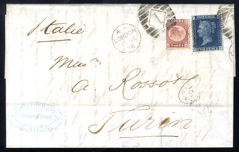 1876 cover to Turin, franked 2d Plate 15 & ½d Plate 5